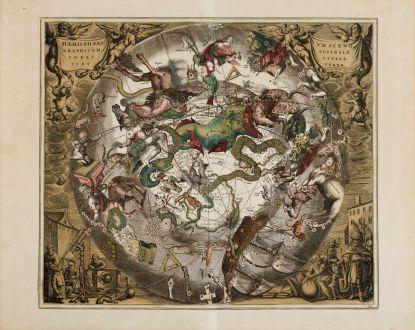 Antike Landkarten, Cellarius, Südlicher Sternenhimmel, (1660) 1708: Haemisphaerium Scenographicum Australe Coeli Stellati et Terrae
