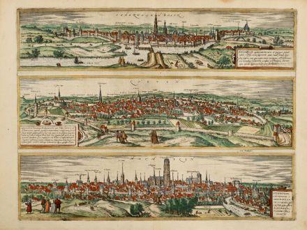 Antike Landkarten, Braun & Hogenberg, Niederlande, Hertogenbosch, Leuven, Mechelen: Tshertogenbosch - Buscumducis oppidum ... / Loeven - Lovanium Perantiqua Brabantiae ... Machelen - Nitidissimae Civitatis...