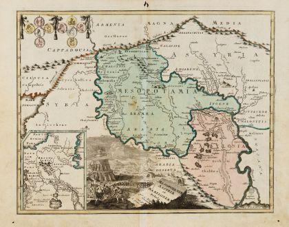 Antike Landkarten, Weigel, Mittlerer Osten, Babylon, Mesopotamien, 1720: Mesopotamiae, Assyriae, et Babyloniae Tabula
