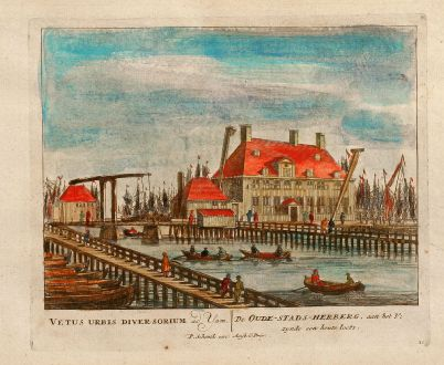 Antike Landkarten, Schenk, Niederlande, Amsterdam, Schifffahrtmuseum, 1700: De Oude-Stads-Herberg