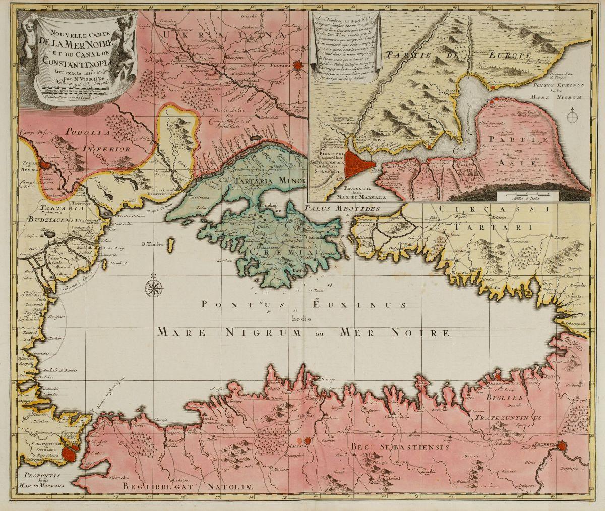 Novelle Carte De La Mer Noire Et Du Canal De Constantinople Tres