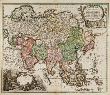 Antique Maps, Homann, Asian Continent, 1712: Asiae Recentissima Delineatio, qua Status et Imperia Totius Orientis Unacum Orientalibus Indiis Exhibentur