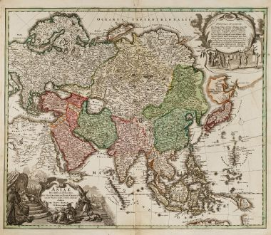 Antike Landkarten, Homann, Asien Kontinent, 1712: Asiae Recentissima Delineatio, qua Status et Imperia Totius Orientis Unacum Orientalibus Indiis Exhibentur