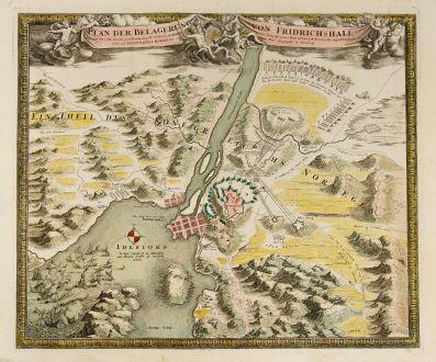 Antique Maps, Homann, Norway, Halden, Fredrikshald, Fortress Fredriksten: Plan der Belagerung von Friedrichshall, angefangen von Carl dem XII der Schweden Goth und Wenden König mit 10000 Mann 36...