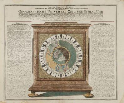Antike Landkarten, Homann, Nordamerika, Kalifornien als Insel, 1720: Geographische Universal-Zeig und Schlag-Uhr