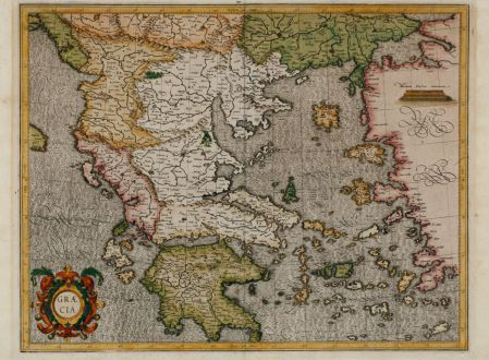 Antique Maps, Mercator, Greece, Peloponnese, Aegean, Asia Minor, 1589: Graecia