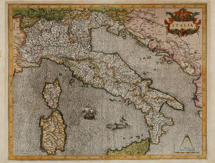 Antike Landkarten, Mercator, Italien, 1589: Italia