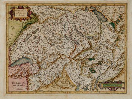 Antike Landkarten, Mercator, Schweiz, 1595: Helvetia cum Finitimis Regionibus Confoederatis