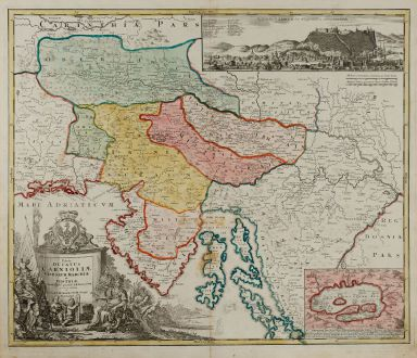 Antique Maps, Homann, Balkan, Croatia, Slovenia, Ljubljana, Laibach, 1720: Tabula Ducatus Carnioliae Vindorum Marchiae et Histriae