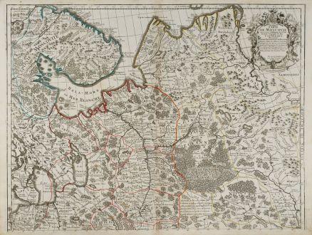 Antique Maps, de l Isle, Russia, Moskwa, Moscow, 1745: Carte de Moscovie. Dressee par Guillaume De l'Isle Premier Geographe du Roy.