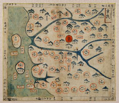 Antique Maps, Anonymous, Japan - Korea, Kyonggi-do, Gyeonggi-do, Seoul: [Korean Manuscript Map of Kyonggi-do with Seoul]
