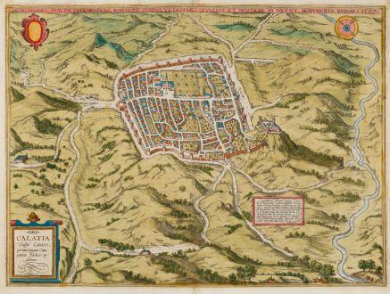 Antike Landkarten, Braun & Hogenberg, Italien, Campania, Caserta, Caiazzo, 1597: Calatia vulgo Caiazo, Perantiquum Campaniae Foelicis Oppidum