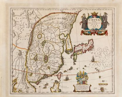 Antique Maps, Blaeu, China, 1634: China Veteribus Sinarum Regio nunc Incolis Tame dicta