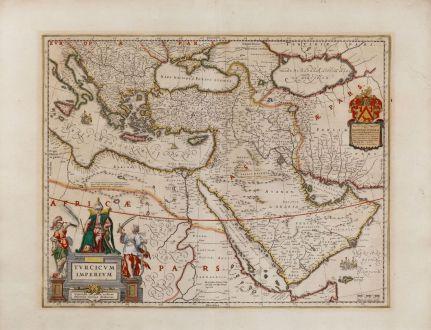 Antike Landkarten, Blaeu, Türkei, Türkische Reich, 1635: Turcicum Imperium