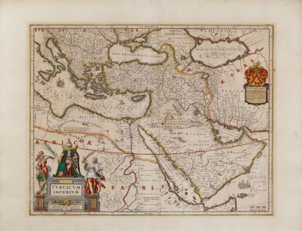 Antique Maps, Blaeu, Turkey, Ottoman Empire, 1635: Turcicum Imperium