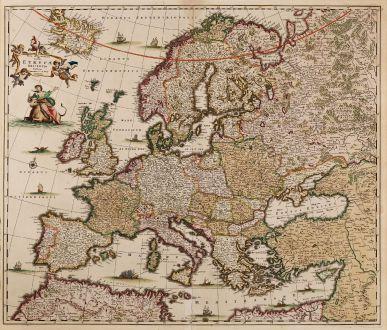 Antike Landkarten, de Wit, Europa Kontinent, 1680: Nova et Accurata Totius Europae Descriptio