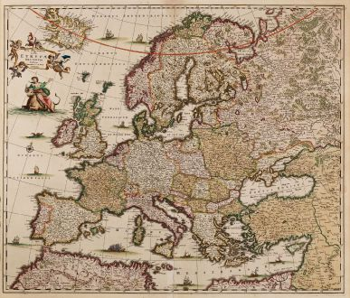 Antique Maps, de Wit, Europe Continent, 1680: Nova et Accurata Totius Europae Descriptio