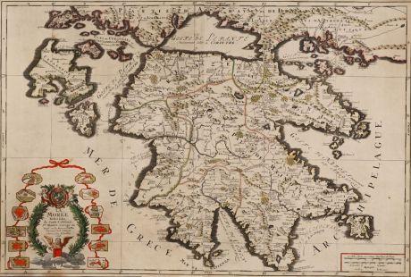 Antique Maps, Sanson, Greece, Peloponnes, 1696: La Moree Et les Isles de Zante, Cefalonie, Ste Maure, Cerigo &c.