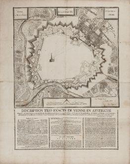 Antique Maps, Anguissola, Austria - Hungary, Vienna, Wien, 1686: Vienna à Turcis obsessa / & Deo Dante / A Christianis eliberata / Desription tres exacte de Vienne en Austriche