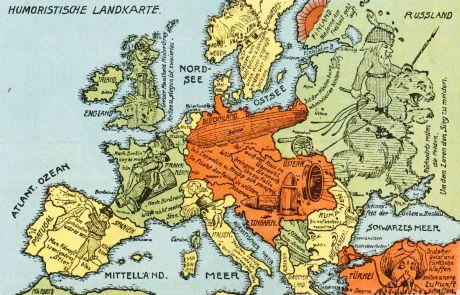 Antike Landkarten, Anonymous, Europa Kontinent, Kriegspropaganda, 1. Weltkrieg: Humoristische Landkarte