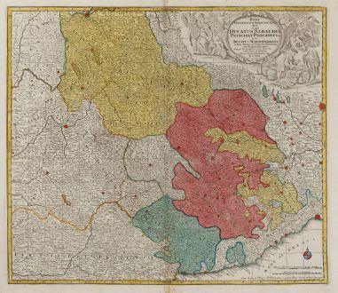 Antique Maps, Lotter, Italy, Piemonte, Savoy, Rhone-Alpes, 1760: Regiae Celsitudinis Sabaudicae Status in quo Ducatus Sabaudiae Principat. Pedemontium ut et Ducatus Montisferrati