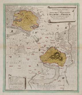 Antike Landkarten, Mayer, Deutschland, Bayern, Oberpfalz, 1748: Geographischer Entwurf der beyden Freyen Reichs-Herrschaften Sulzbürg und Pirbaum samt ihren auch incorporirten, in anderer...