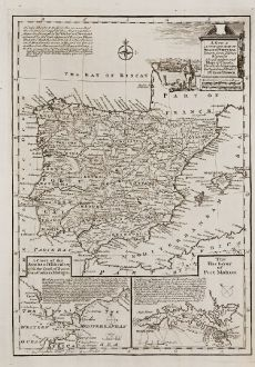 Antike Landkarten, Bowen, Spanien - Portugal, Menorca, Mahon, Gibraltar, 1747: A New & Accurate Map of Spain & Portugal.