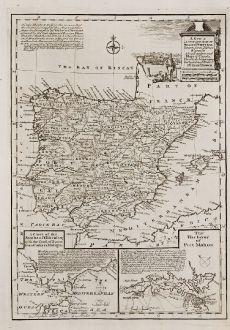 Antike Landkarten, Bowen, Spanien - Portugal, Menorca, Mahon, Gibraltar, 1747: A New & Accurate Map of Spain & Portugal.