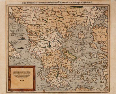 Antike Landkarten, Münster, Griechenland, 1588: New Griechenlandt, mit andern anstossenden Ländern, wie es zu unsern zeiten beschriben ist.