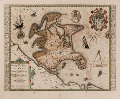 Antike Landkarten, Hondius, Deutschland, Ostsee, Rügen, 1623: Nova Famigerabilis Insulae ac Ducatus Rugiae Descripto.