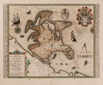 Antique Maps, Hondius, Germany, Baltic Sea, Rügen, 1623: Nova Famigerabilis Insulae ac Ducatus Rugiae Descripto.