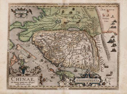 Antique Maps, Ortelius, China, 1587: Chinae, olim Sinarum Regionis, nova descriptio. Auctore Ludovico Georgio.