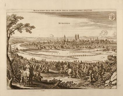 Antike Landkarten, Merian, Deutschland, München, 1650: Monachium Regi Suecorvm certis conditionibus deditur