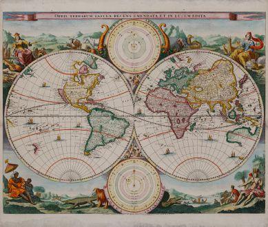 Antike Landkarten, Stoopendaal, Weltkarten, 1680: Orbis Terrarum Tabula Recens Emendata et in Lucem Edita