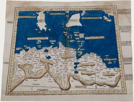 Antike Landkarten, Holle, Nordafrika, Tunesien, Libyen, Sardinien und Sizilien: [Secunda Affrice tabula continet Affricam & insulae que circa ipsam sunt Parallel]