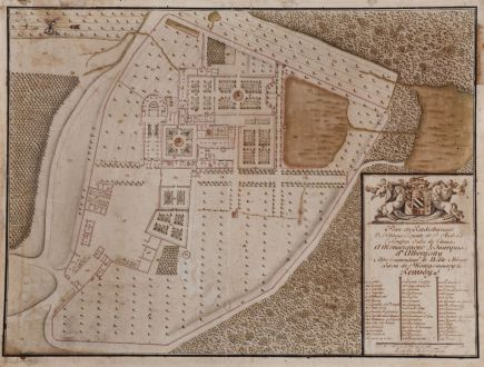 Antique Maps, Anonymous, France, Falaise, Abbaye de Saint-Andre-de-Gouffern: Plan du Rezdechaussee De l'Abbayé Royale de S. Andre En Gouffern Ordre de Citaux a Monseigneur le Marquis d'Albergotti....