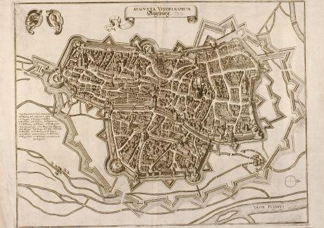 Antike Landkarten, Merian, Deutschland, Augsburg, Bayern, 1650: Augvsta Vindelicorum. Augspurg