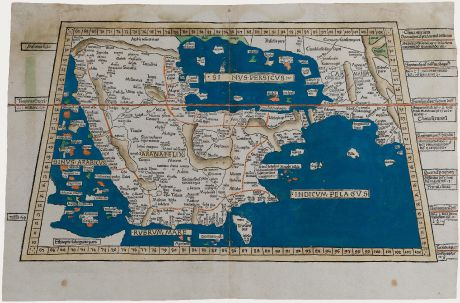 Antique Maps, Holle, Middle East, Arabia, July 1482: [Sexta Asie Tabula, Arabia Felix]
