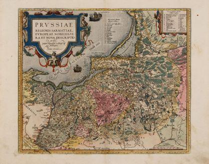 Antique Maps, Ortelius, Poland, Prussia, Konigsberg, Kaliningrad, Gdansk: Prussiae Regionis Sarmatiae Europeae Nobiliss. Vera et Nova Descriptio...