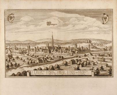 Antike Landkarten, Merian, Deutschland, Wangen im Allgäu, 1650: Wangen