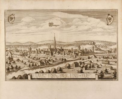 Antique Maps, Merian, Germany, Wangen, Bavaria, 1650: Wangen