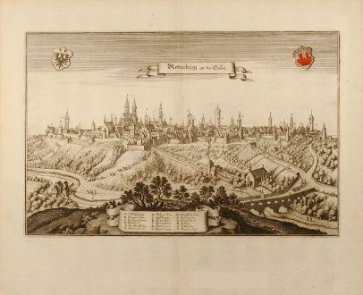 Antike Landkarten, Merian, Deutschland, Rothenburg ob der Tauber, 1650: Rotenburg an der Tauber