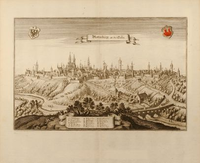 Antique Maps, Merian, Germany, Rothenburg ob der Tauber, 1650: Rotenburg an der Tauber
