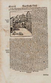 Antike Landkarten, Münster, Heiliges Land, Jerusalem, Grabeskirche, 1574: Tempel des heiligen Grabs