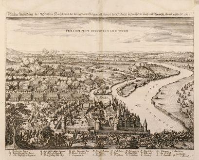 Antike Landkarten, Merian, Deutschland, Hoechst, 1650: Wahre Vorbildung des Stättlein Höchst, vnd der beiligenden Gelegenheit, sampt der Schlacht so Zwische der Kays. und...