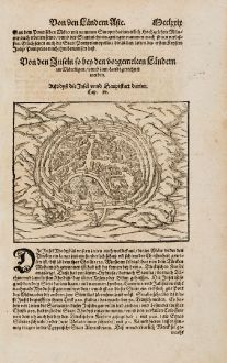 Antique Maps, Münster, Greece, Rhodos, 1574: Rhodys die Insel unnd Hauptstatt darinn