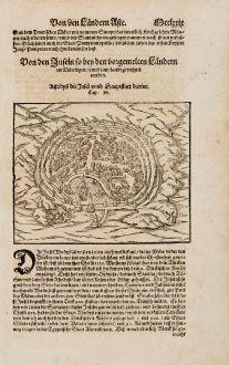 Antike Landkarten, Münster, Griechenland, Rhodos, 1574: Rhodys die Insel unnd Hauptstatt darinn