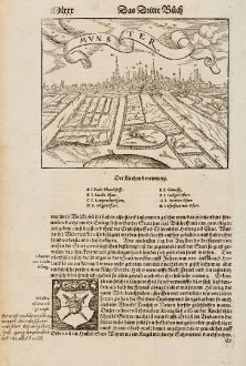 Antique Maps, Münster, Germany, North Rhine-Westphalia, Münster, 1574: Mvnster