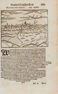 Antike Landkarten, Münster, Deutschland, Sachsen-Anhalt, Wittenberg, 1574: Wittenberg in Obern Sachsen / Wittenburg