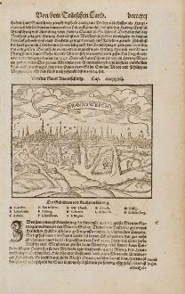 Antike Landkarten, Münster, Deutschland, Niedersachsen, Braunschweig, 1574: Von der Statt Braunschwig / Braunsweich